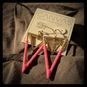 NEW Canvas Triangle Pink Gold Earrings